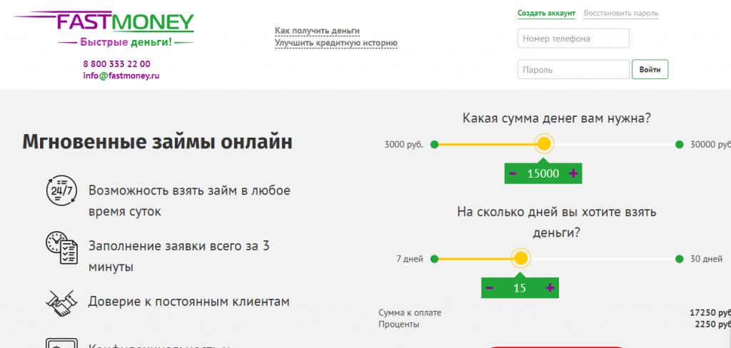 Официальный сайт FastMoney fastmoney.ru